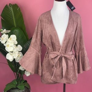 {Kut from the Kloth} Dusty Rose Bell Sleeve Jacket